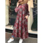 Оригинал              Женщины Ретро Цветочный принт O-образным вырезом на пуговицах Kaftan Pocket Maxi Рубашка Платье