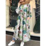 Оригинал              Женщины Винтаж O-образным вырезом с длинным рукавом с цветочным принтом и пуговицами в стиле ретро Рубашка Макси-платья