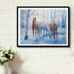 Оригинал              DIY 5D алмазная живопись зима Лошадь Art Craft вышивка стежком Набор украшения стены ручной работы подарки для детей Для взрослых