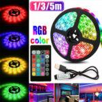 Оригинал              1M 3M 5M USB RGB 5050 LED Полоса света Не водонепроницаемая / Водонепроницаемы ТВ-фон ПК Лампа с 24 клавишами Дистанционное Управление