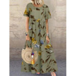Оригинал              Повседневное свободное макси с короткими рукавами и винтажным цветочным принтом Платье