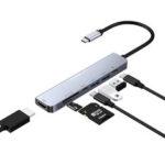 Оригинал              Bakeey 7 в 1 Многофункциональный адаптер для док-станции концентратора Type-C с 4K HDMI HD Дисплей/2 * USB 3.0 / PD Быстрая зарядка / Передача данных USB-C / Счит