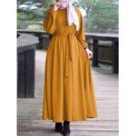 Оригинал              Женская элегантная эластичная туника с пышными рукавами Манжеты Кафтан на шнуровке мусульманская макси Платье