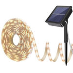 Оригинал              Теплый белый Солнечная Power Light Strip 2835 LED IP65 Водонепроницаемы На открытом воздухе Сад Decor