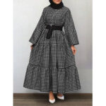 Оригинал              Женщины в клетку с принтом Big Swing Tiered A-line Платье Туника кафтан