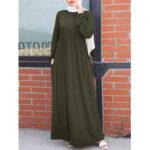 Оригинал              Женщины ретро сплошной цвет эластичный Манжеты вязаный мусульманский макси Платье с боковыми карманами