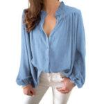 Оригинал              Женщины OL стиль сплошной цвет с разрезом плиссированные повседневные рубашки с рукавами-фонариками