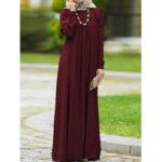 Оригинал              Женщины Винтаж Кафтан с круглым вырезом на пуговицах и длинными рукавами с буфами, однотонный, макси Платье