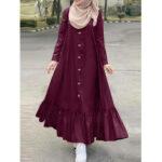 Оригинал              Женщины сплошной цвет хлопок с длинным рукавом рюшами повседневная свободная макси Платье