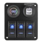 Оригинал              12V 3 Gang Blue Toggle Rocker Switch Panel вольтметр USB зарядное устройство Авто морской Лодка