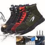 Оригинал              Мужская защитная рабочая обувь со стальным носком, высокие кроссовки для бега, дышащие лодыжки, Ботинки, альпинизм, ходьба, бег трусцой