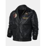 Оригинал              Мужские куртки из искусственной кожи с длинным рукавом с вышивкой Eagle с карманом на молнии с длинным рукавом