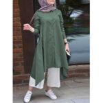 Оригинал              Женщины ретро сплошной цвет отложной воротник пуговица с высоким низким низом Рубашка Платье