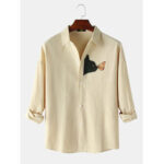 Оригинал              Дизайн Кот & Простые рубашки с длинными рукавами и мультяшным принтом бабочек