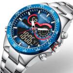 Оригинал              BOAMIGO F549 Водонепроницаемы Хронограф LED Дисплей Мужские наручные часы Деловой стиль Полностью стальные кварцевые часы