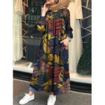 Оригинал              Женщины ретро цветочные листья печати пуговицы с длинным рукавом макси Рубашка Платье с карманом