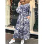 Оригинал              Винтажная хлопковая туника-кафтан с цветочным принтом и мусульманским макси Платье с боковыми карманами
