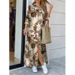 Оригинал              Женщины хлопок цветок печати свободные повседневные макси рубашки Платье с передними карманами