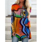 Оригинал              Женщины Граффити печати с длинным рукавом нерегулярные повседневные свободные Plus размер блузка