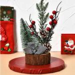 Оригинал              Мини-деревянная светодиодная рождественская елка, украшение для стола, подарок, милое рождественское украшение для дома