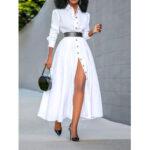 Оригинал              Женщины Basic Button Down Front Lapel Solid Color Long Sleeve Рубашка Платье