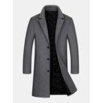 Оригинал              Мужское шерстяное пальто средней длины Длина однобортное плотное деловое