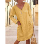 Оригинал              Женщины Хлопок Лен Твердый V-образным вырезом Повседневная с длинным рукавом Midi Платье с карманами