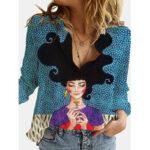 Оригинал              Винтажные свободные рубашки с длинным рукавом и отложным воротником с принтом фигурок для Женское