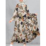 Оригинал              Женская хлопковая повязка с цветочным принтом и расклешенными рукавами, кафтан, свободная туника, макси Платье