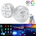 Оригинал              13 светодиодный погружной светильник RGB диаметром 7 см Colorful с инфракрасным излучением Дистанционное Управление для плавания Бассейн Вечерн