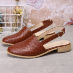 Оригинал              Удобные плетеные туфли на плоской подошве с острым носком и пряжкой большого размера для Женское