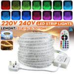 Оригинал              2M / 4M / 6M / 8M / 10M / 15M Водонепроницаемы 5050 SMD RGB LED Декоративная полоса света Лампа Набор с британской вилкой AC220-240V