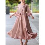 Оригинал              Женщины сплошной цвет имитация шелка лодыжки Длина кафтан макси платья с объемными рукавами