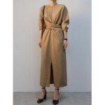 Оригинал              Элегантное однотонное перекрестное кружево Дизайн Макси с длинными рукавами и разрезом по низу Платье