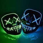 Оригинал              Хэллоуин LED Маска Purge Маскаs Выборы Тушь Костюм DJ Party Light Up Маскаs Светятся в темноте 10 цветов на выбор