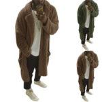 Оригинал              Мужское пальто с лацканами Шея Зимняя теплая флисовая пушистая длинная куртка Верхняя одежда Пальто Кемпинг Походы