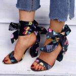 Оригинал              Женские туфли на массивном каблуке со шнуровкой и открытым носком