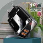 Оригинал              Twitch 18 Вт двухпортовое USB-зарядное устройство QC3.0 Адаптер для быстрой зарядки настенного зарядного устройства с вилкой европейского станда