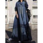 Оригинал              Женщины клетчатый отложной воротник с длинным рукавом ретро кнопка Рубашка платья с карманом