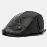 Оригинал              Collrown Men PU Leather Solid Color Casual Винтаж Регулируемый вперед Шапка Берет Шапка