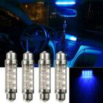 Оригинал              4 шт. 42 мм Авто LED интерьер гирлянда Dome лампочки карта дверь лампочки лампы синий цвет универсальный 12 В