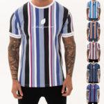 Оригинал              Мужская футболка летняя уличная полоса мужская T Рубашка повседневная мужская одежда хип-хоп мужские футболки топы модная одежда для мужч